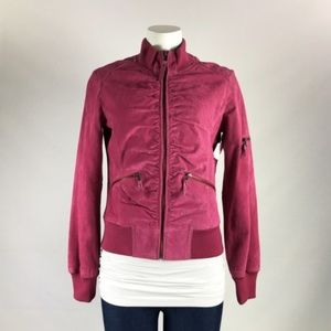 Le Chateau Fuchsia Suede Zip Up Jacket Size S
